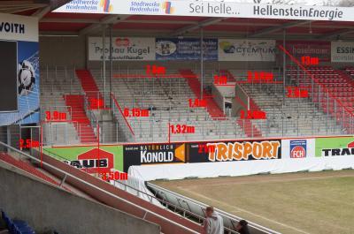 Abmessung Gästeblock Voith-Arena Heidenheim