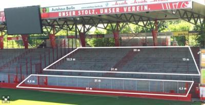 Abmessung Gästeblock Stadion a. d. Alten Försterei Berlin