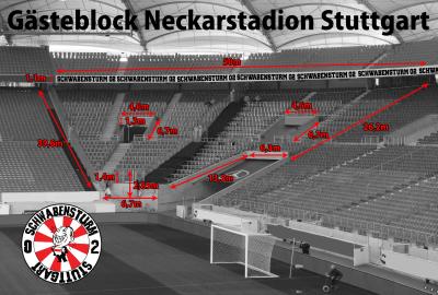 Abmessung Gästeblock Mercedes-Benz Arena Stuttgart