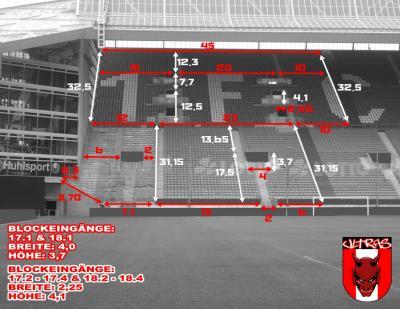 Abmessung Gästeblock Fritz-Walter-Stadion Kaiserslautern