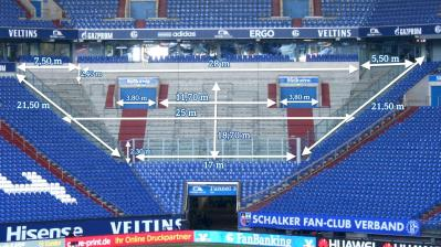 Abmessung Gästeblock Veltins Arena Gelsenkirchen