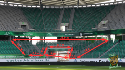 Abmessung Gästeblock Volkswagen Arena Wolfsburg