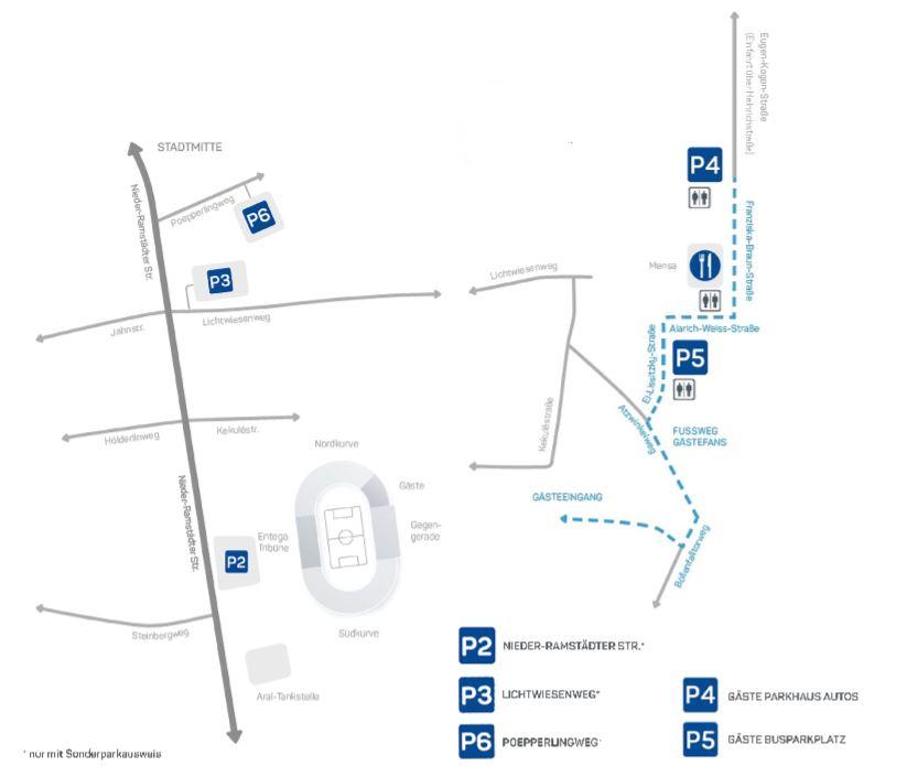 Anfahrt Merck-Stadion am Böllenfalltor
