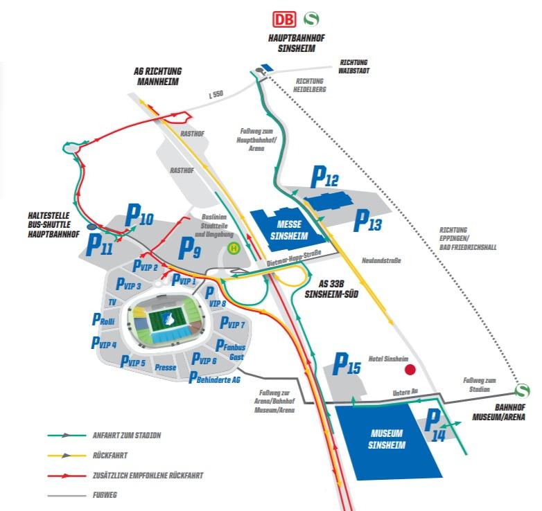 Anfahrt Wirsol Rhein-Neckar-Arena