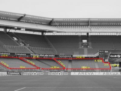 Abmessung Gästeblock Max-Morlock-Stadion Nürnberg