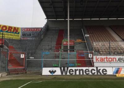 Abmessung Gästeblock Stadion der Freundschaft Cottbus