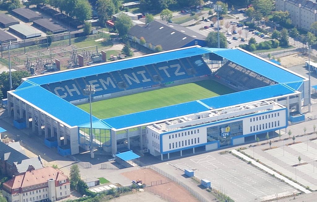 Stadion Fischerwiese Chemenitz Luftbild